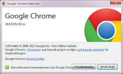 Google chrome 18 güncelleme işlemleri 2