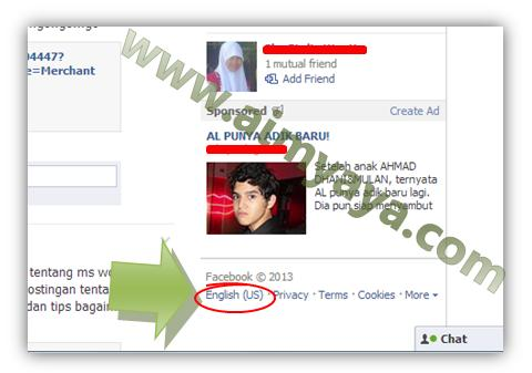 Gambar: Cara mengganti langsung bahasa facebook