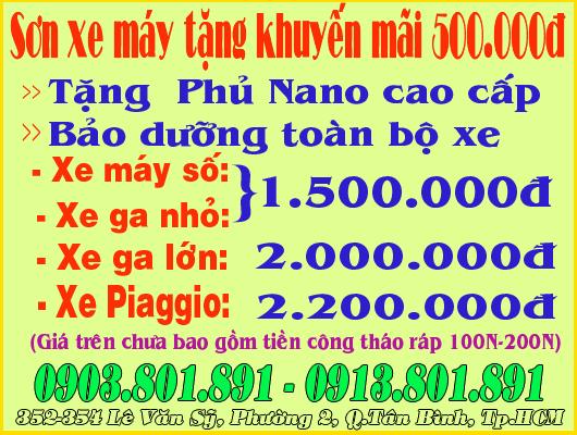 Sơn xe máy tặng khuyến mãi đến 500.000đ