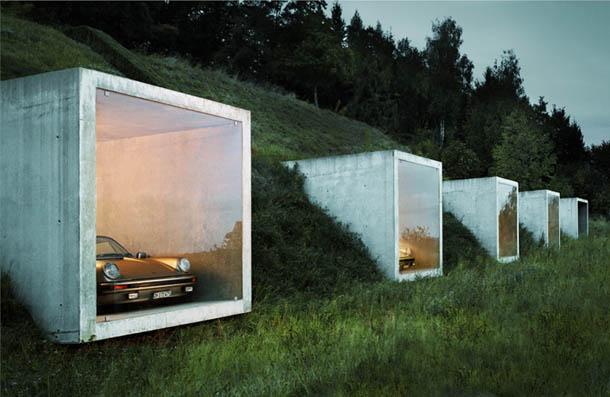 Estacionamento com vista para o campo | Arquitectura de Peter Kunz