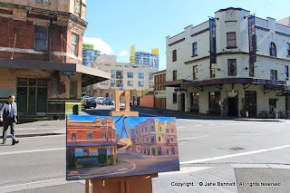 Pyrmont Painting- plein air oil painting of urban decay - Terminus Hotel and Pyrmont Point Hotel by industrial heritage artist Jane Bennett