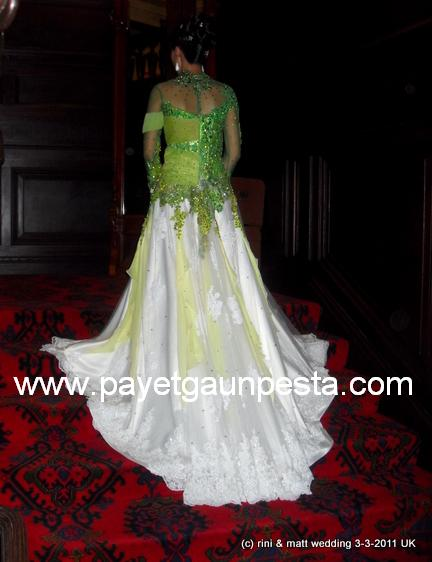 Payet Gaun Pesta The Beauty Kebaya Modern Hijau Putih Calla