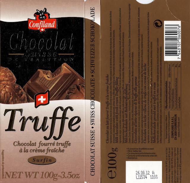 tablette de chocolat lait fourré confiland lait truffe