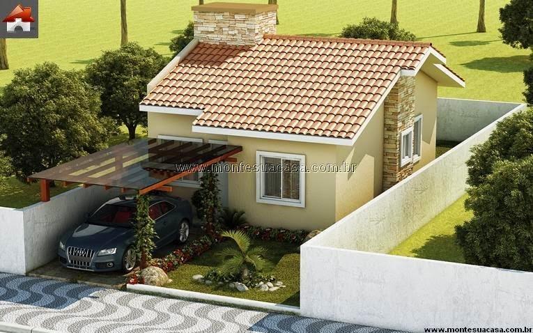 Projeto de casas pequenas com 2 quartos for Fachadas de casas pequenas de 4 metros de frente