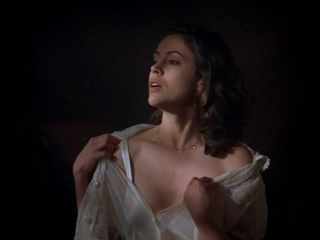 Ladies In Satin Blouses Alyssa Milano Sexy White Tied Up Blouse