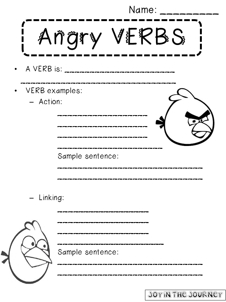 Angry Verbs and a CURRENTLY Joy in the Journey – Linking Verb Worksheet
