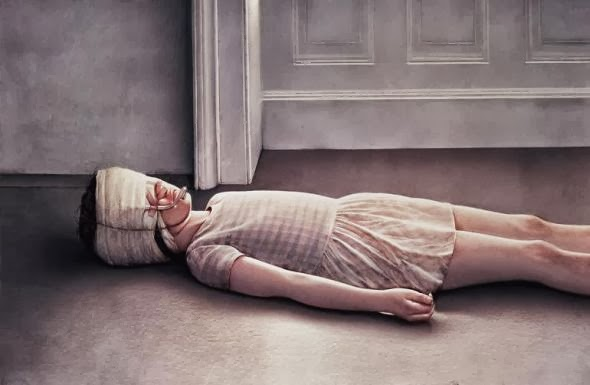 Gottfried Helnwein paintings hyper-realistic little girls injured innocence violence Injured girl in bandages