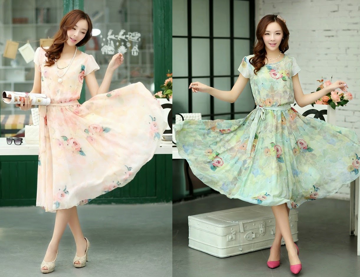 New 2014 Floral Digital Painting Chiffon Dress