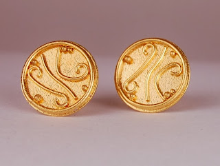 round disc earrings in 22k gold with granular surface texture