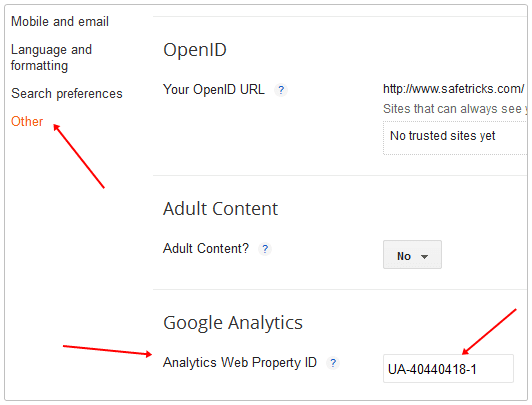 Google Analytics to Blogger