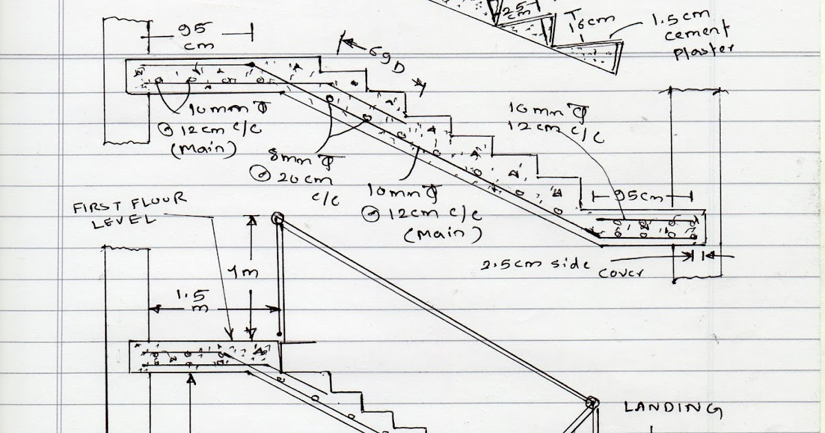 Volume Of Concrete Slab : Civil at work how to calculate staircase concrete quantity