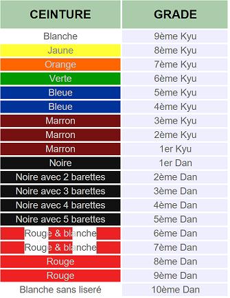 e2229f119ab8 Il existe aussi des ceintures dites « intermédiaires » c est-à-dire blanche- jaune ou jaune-orange seulement attribués aux enfants pour les encourager à  ...
