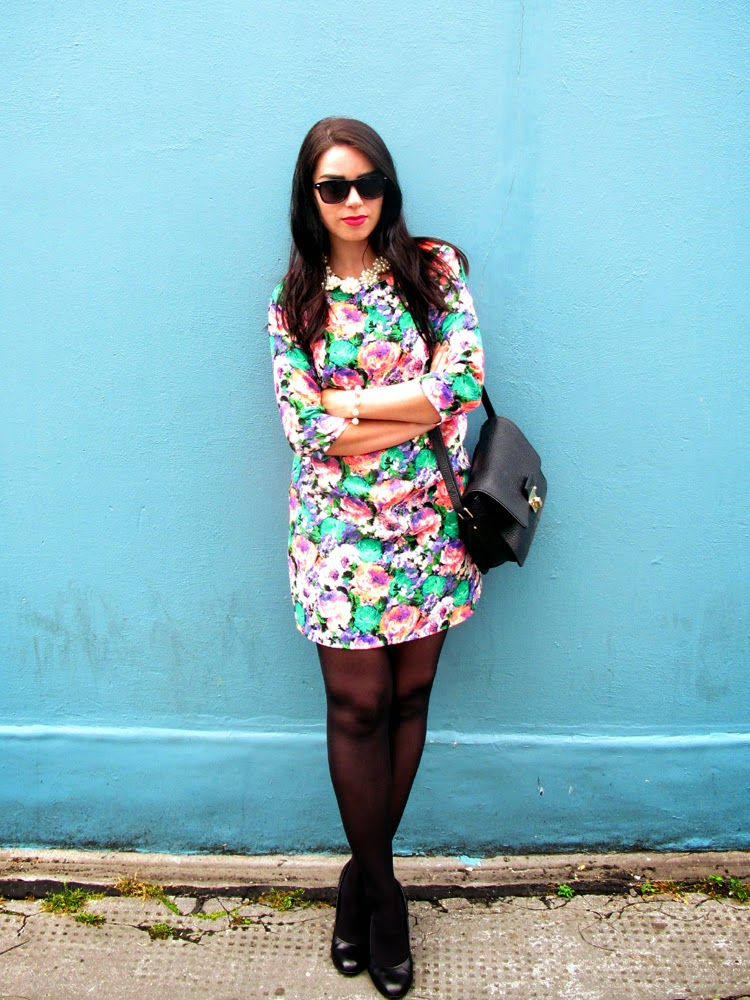 London fashion blogger Emma Louise Layla wearing River Island floral print dress
