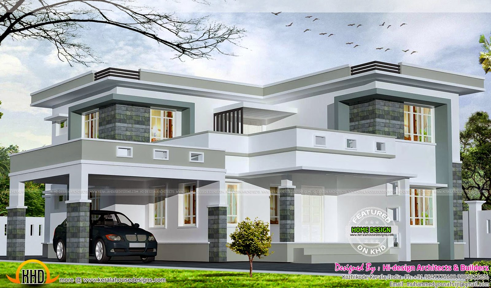 2875 Square Feet Flat Roof Home Kerala Home Design And Floor Plans
