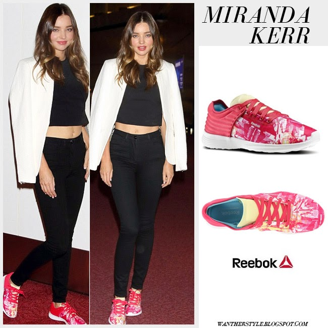 Miranda Kerr in pink print Reebok Skyscape sneakers want her style what she wore