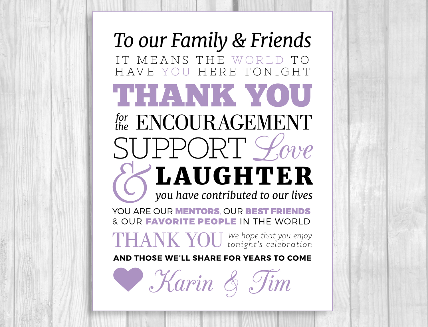 Custom Printable To Our Family And Friends 8x10 Wedding Thank You Sign