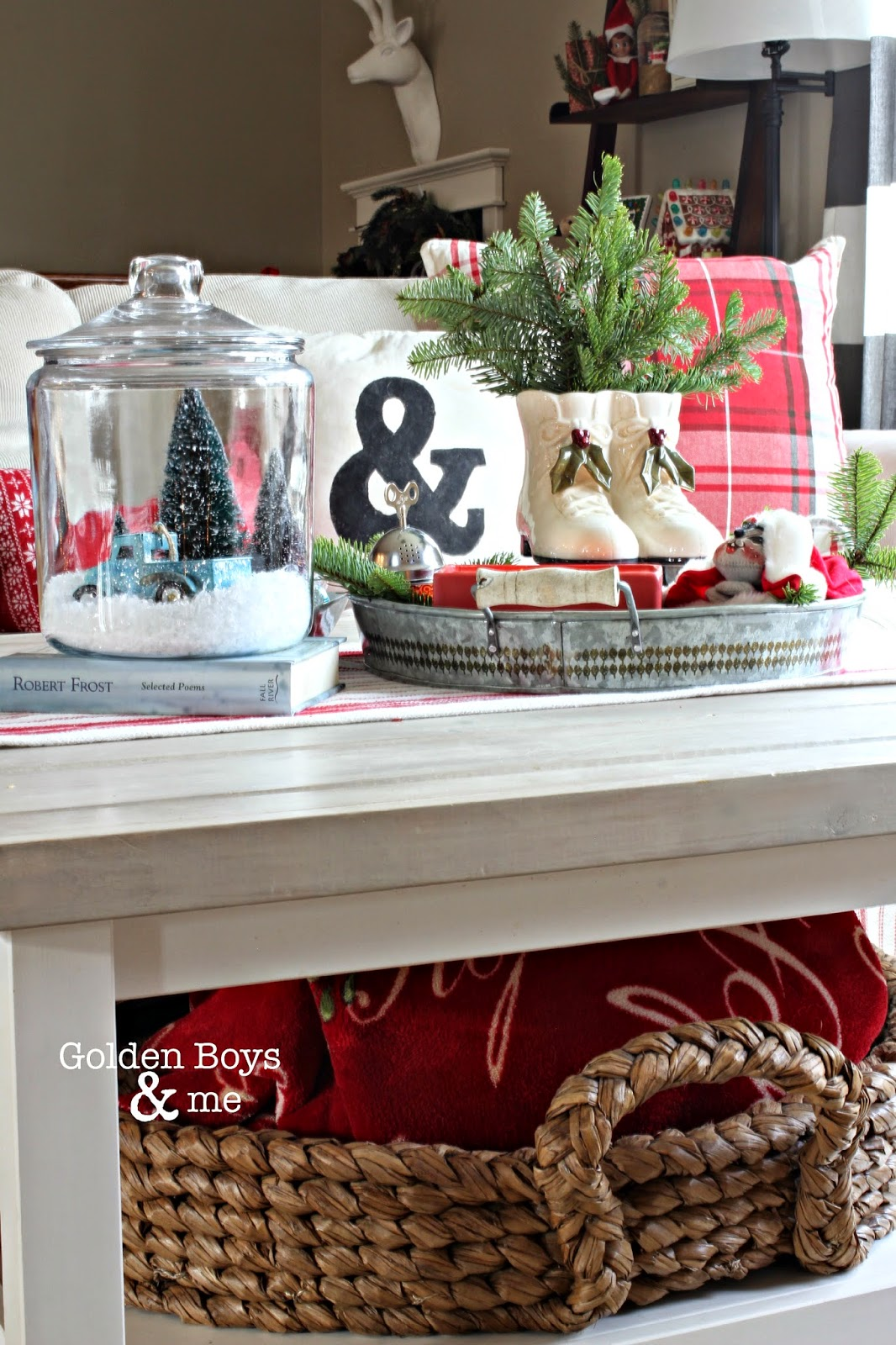 DIY Ikea hack coffee table in Christmas living room with Pottery Barn beachcomber round basket-www.goldenboysandme.com