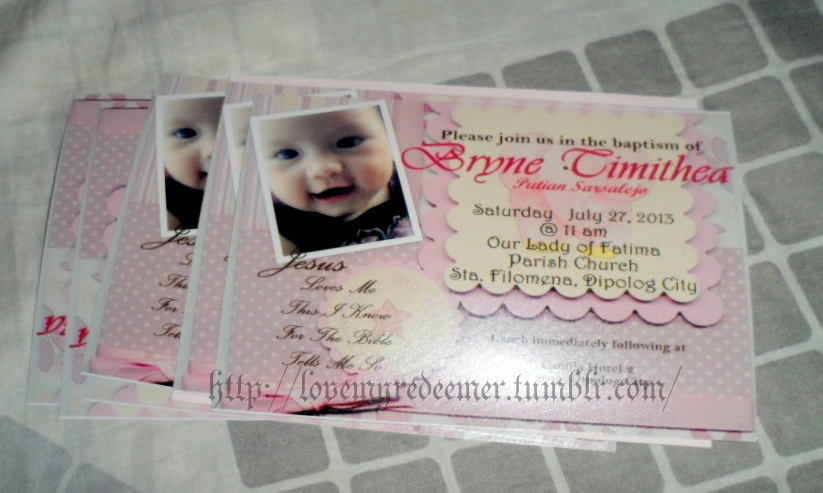 Lovemyredeemer my diy baby girl christening invitation card for the fun part decorating my project i took pictures of the materials minus the glue stick though i only found out later that i needed it lol stopboris Images