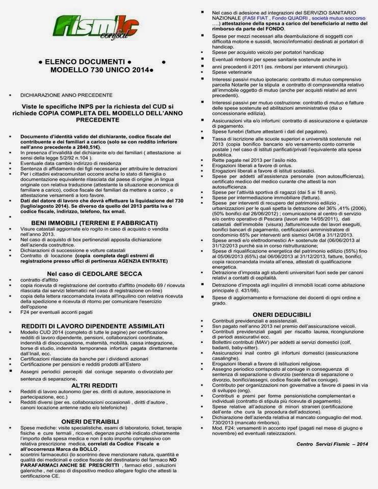 Fismic brescia documenti per il mod 730 - Documenti per il 730 ...
