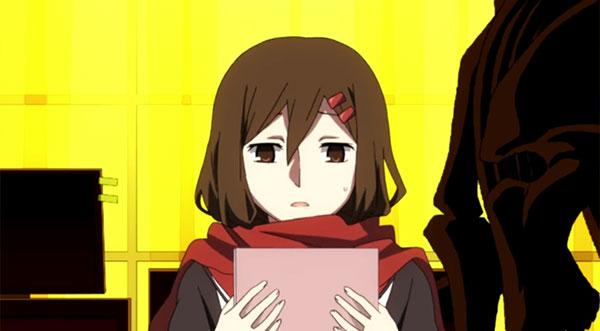 Tateyama Ayano Mekaku city actors - Karakter anime yang memakai syal merah