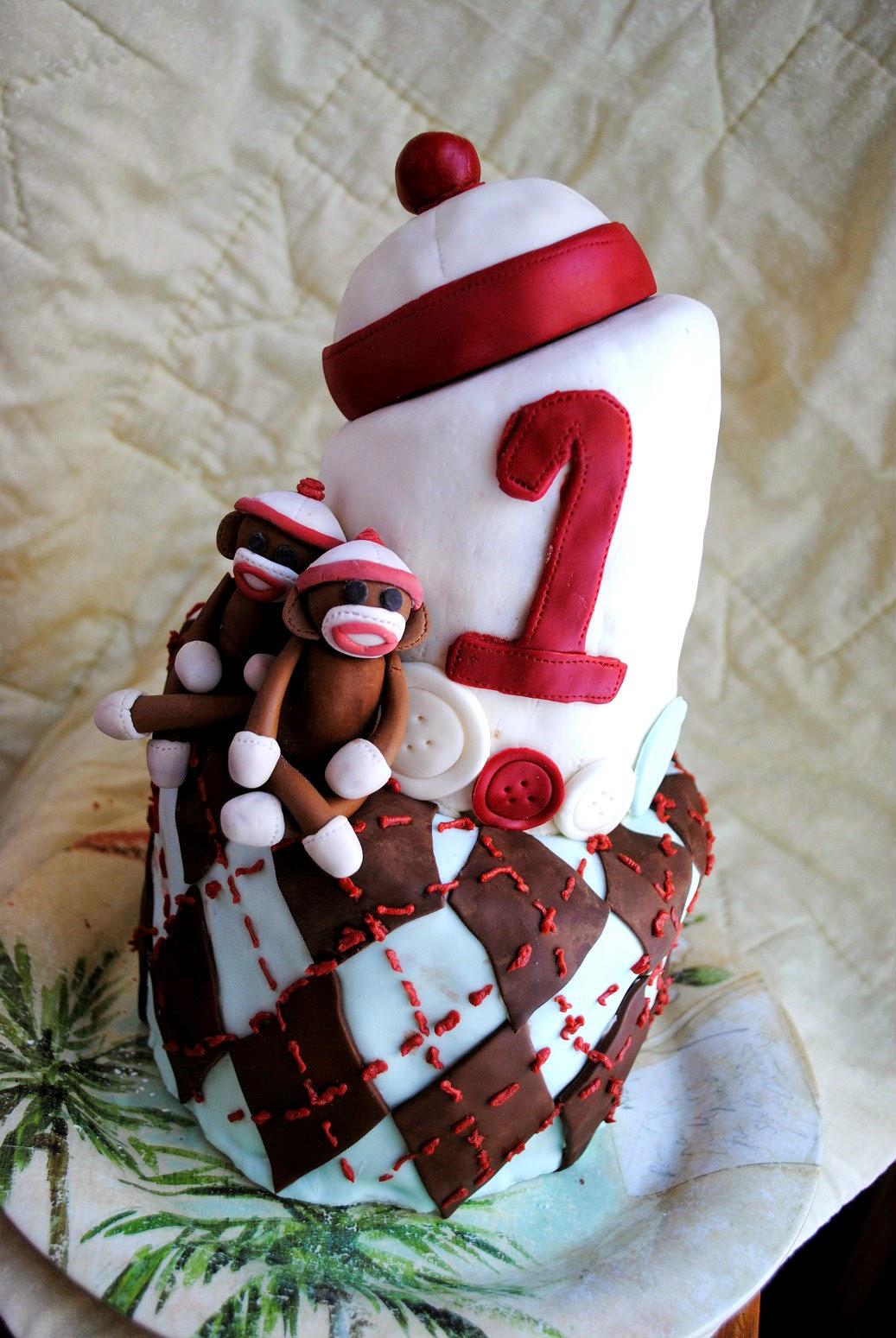 Sugar Blossom Cake Company Topsy Turvy First Birthday Cake
