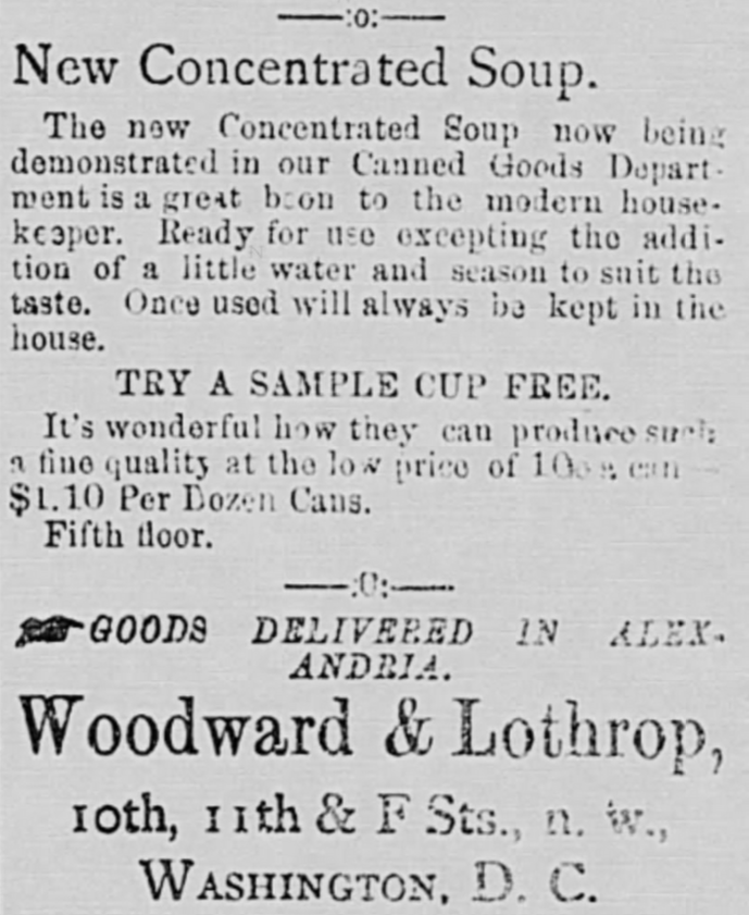 Alexandria Gazette, 12 January 1898, First Ad Ever for Campbell's Condensed Soup?