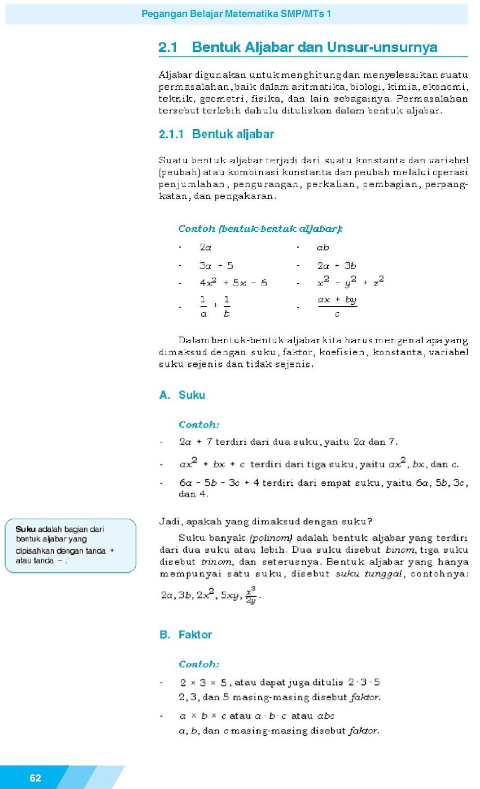 Os2kangkung Matematika Smp Mts Kelas 7 Bab 2 Aljabar