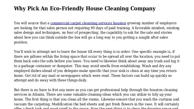Green Cleaning - Eco Friendly House Cleaning