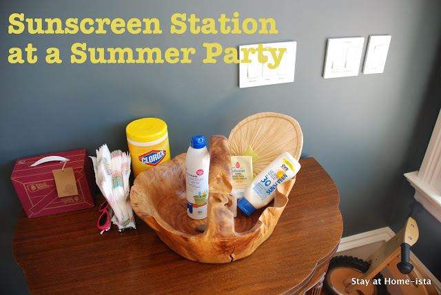 Sunscreen station for a summer party