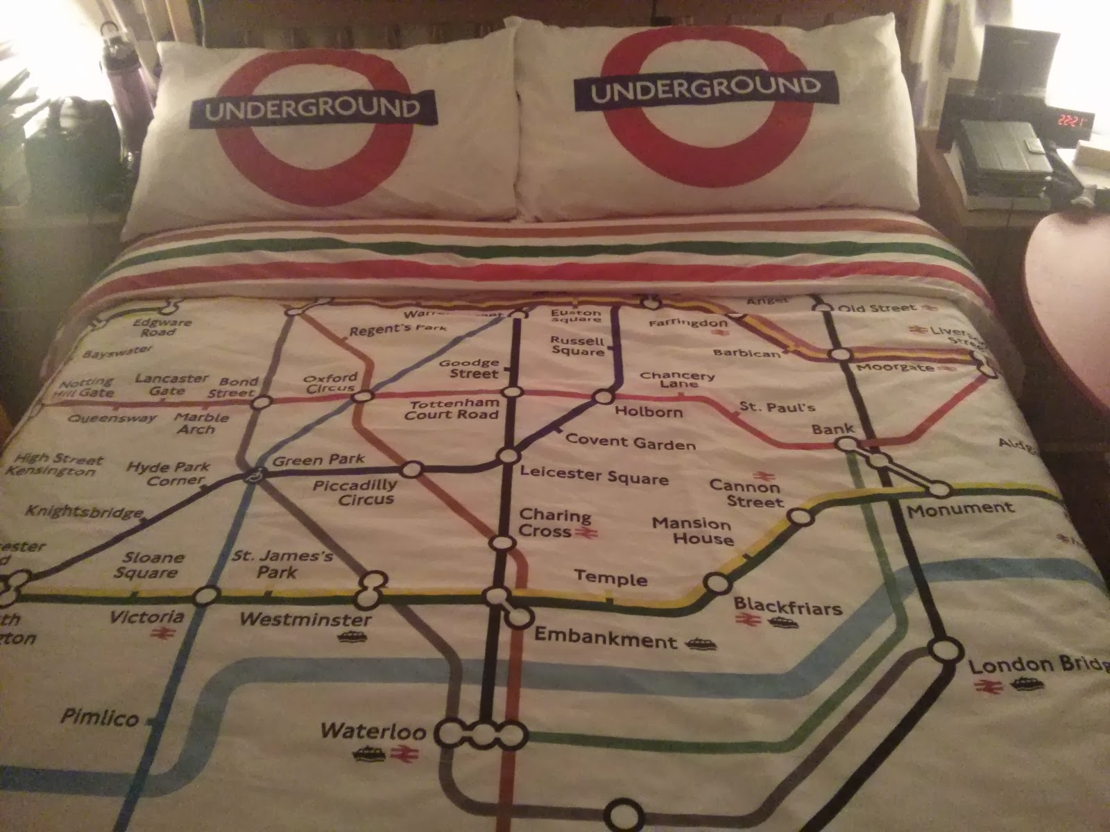 Underground bedlinen. Perfect for memorising the stops on the Northern Line