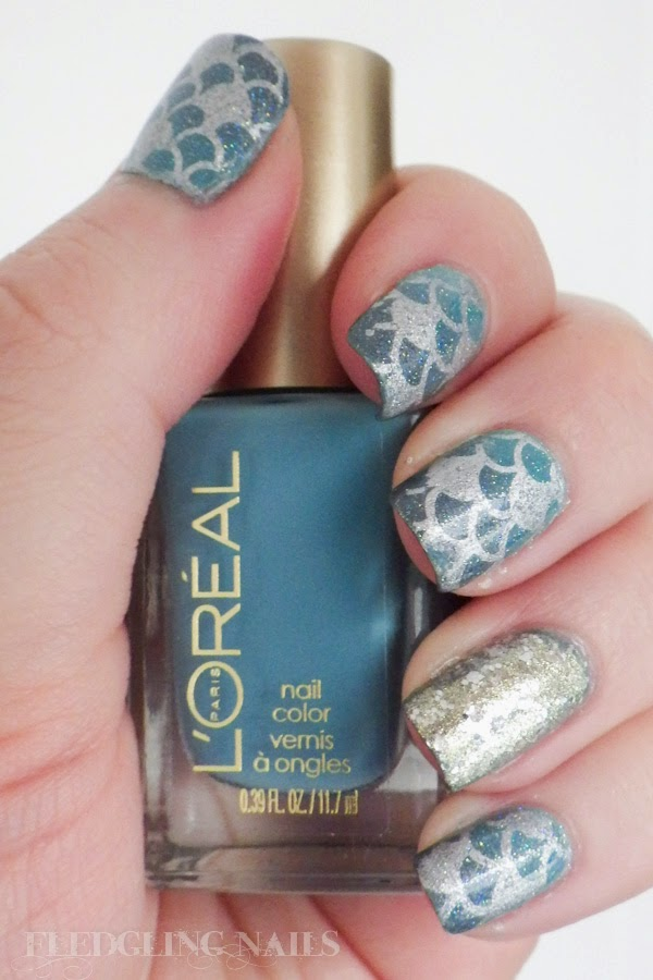 Fledgling nails nail art moyou london challenge day 4 fantasy this scale pattern is from moyou londons sailor collection 05 a collection of marine and scale designs love i stamped using sally hansen insta dri prinsesfo Choice Image