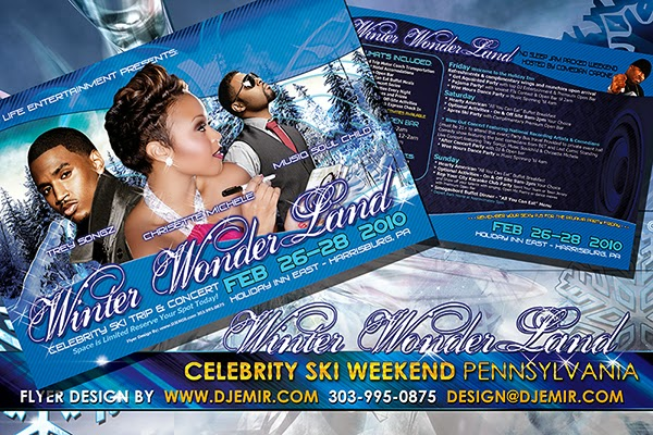 Winter Wonderland Celebrity Ski Weekend Flyer Design Featuring Chrisette Michele, Trey Songz and Musiq Soul Child