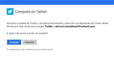 configurar Outlook y Twitter