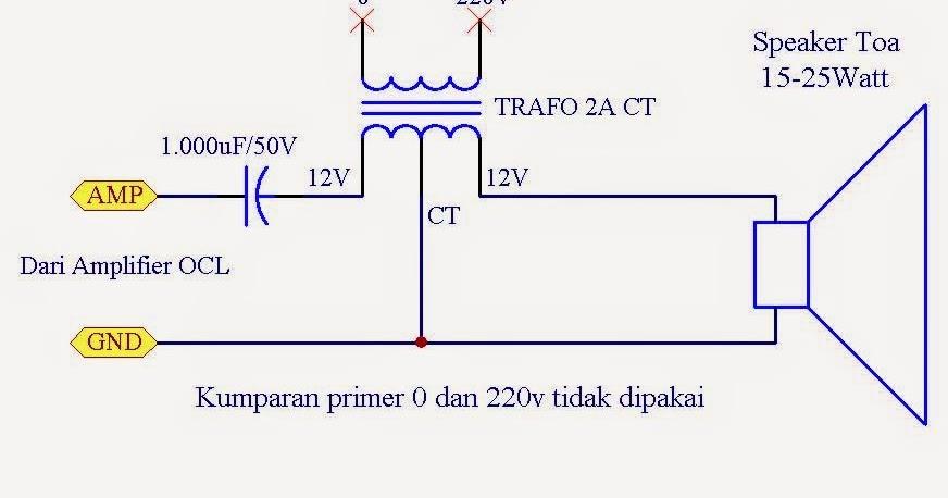 Rangkaian Power Adapter Amplifier Ocl Dengan Speaker Toa