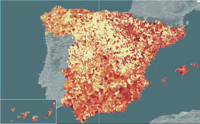 Mapa de deuda municipal España