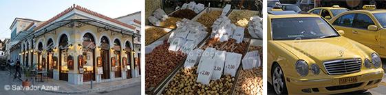 Taberna en el barrio de Plaka, puesto de frutos secos y taxis