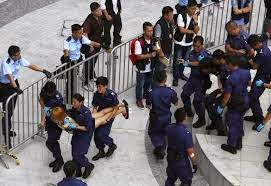 At Protest Site Hong Kong Police Arrest Demonstrators