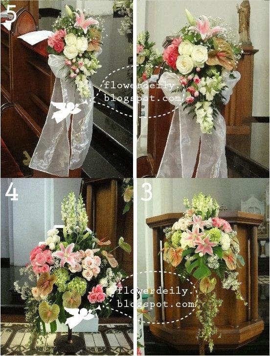 Decoración floral con paniculata, verde, margaritas y algo de rosa (lilium) 9