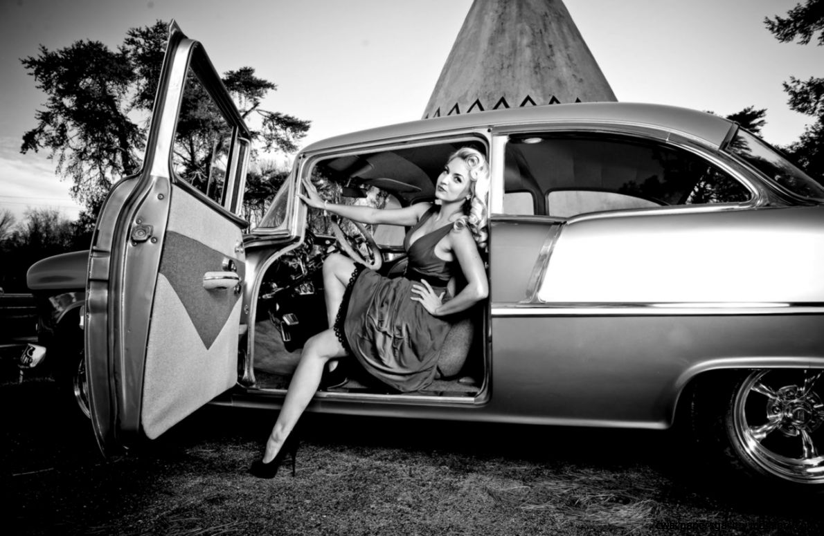 black and white classic car  hdwallpapera