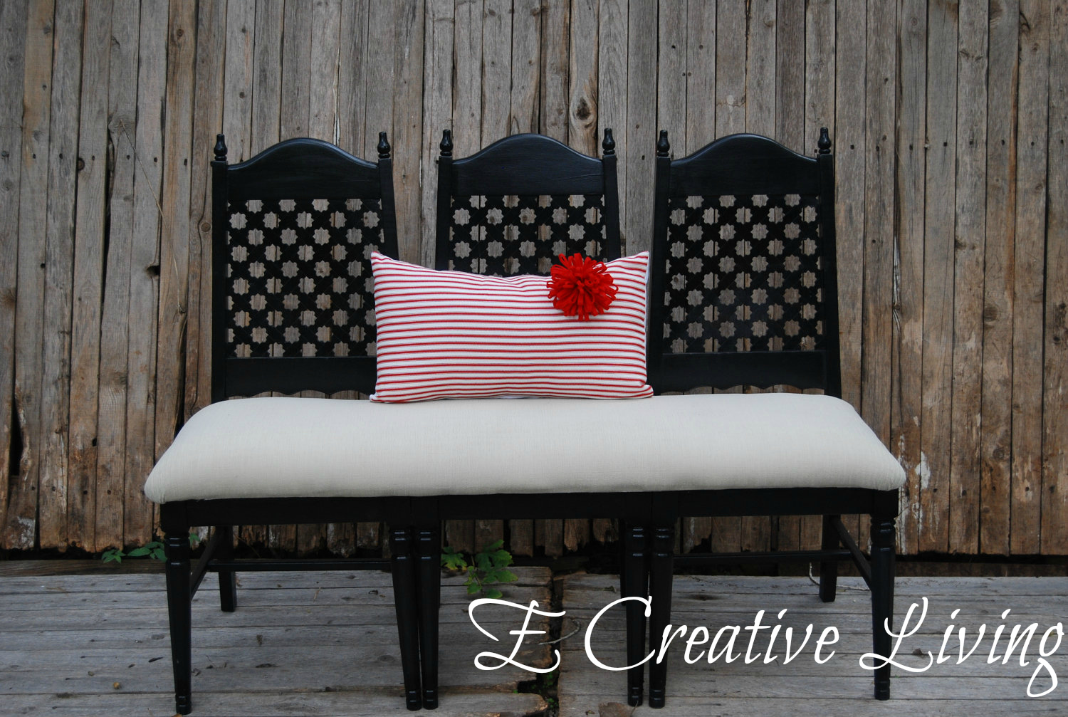 E creative living bohemian moroccan style black one of a kind three seat bench inspired by horchow Moroccan bench