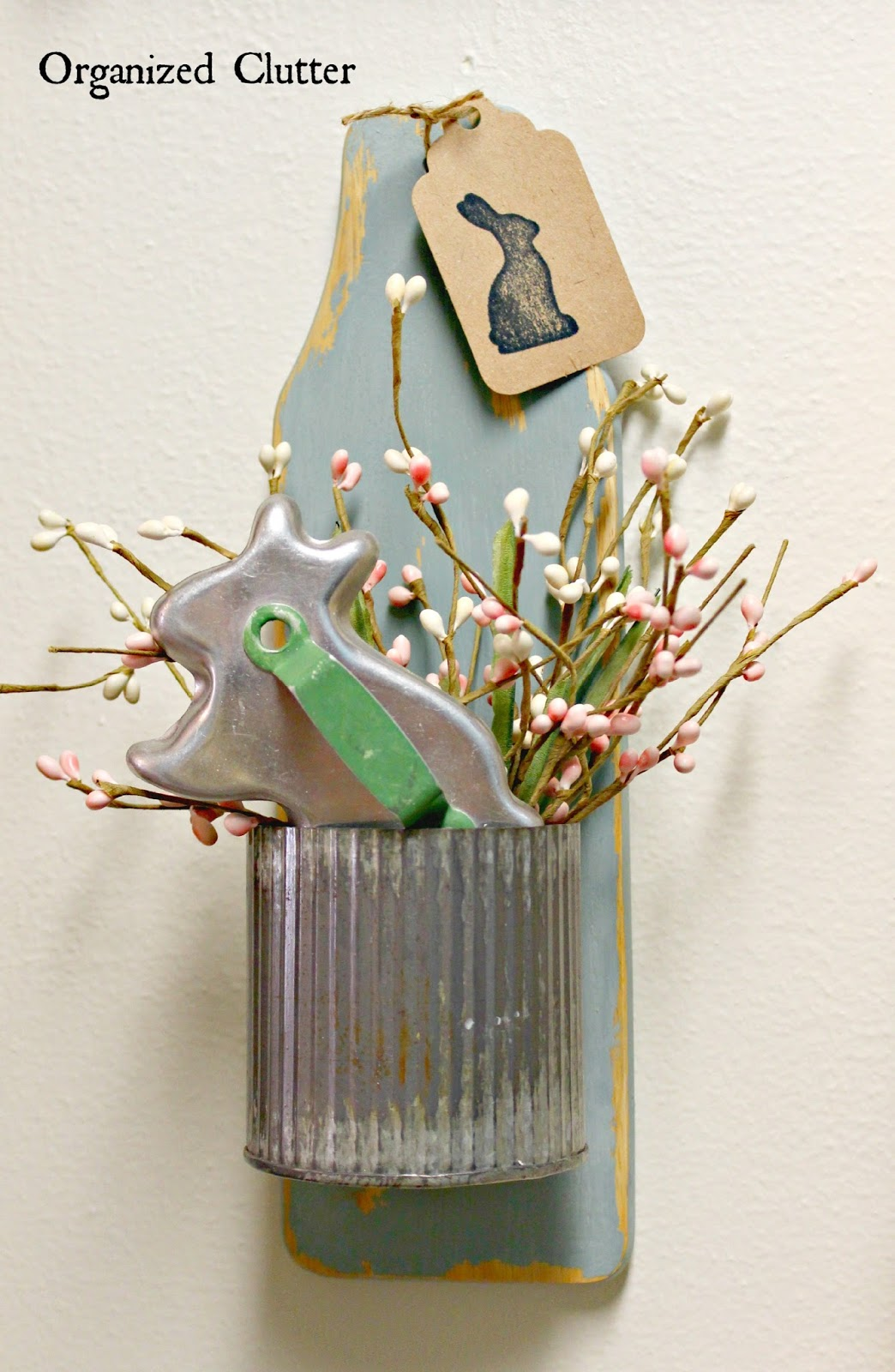 Easter Wall Decor From Thrift Shop Pieces www.organizedclutter.net