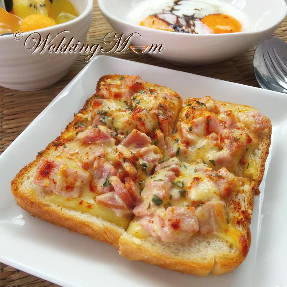 { breakfast: creamy ham & cheese on thick toast }