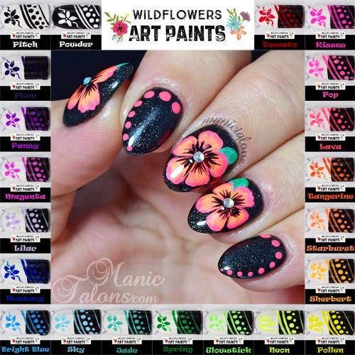 Manic talons nail design wildflowers nail art paints swatches wildflowers art paints swatches and review prinsesfo Choice Image