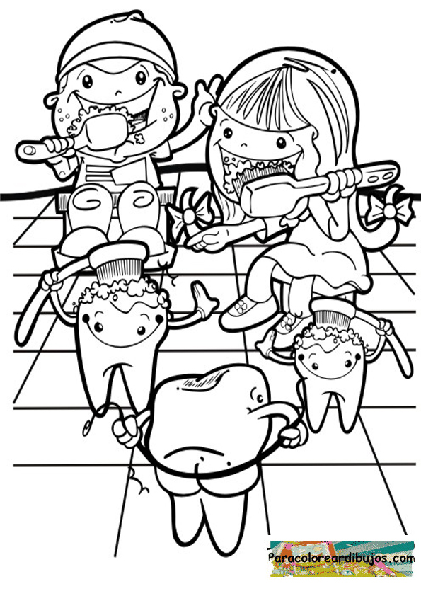 Lavarse los dientes para colorear | Colorear dibujos