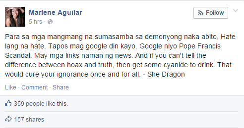 Marlene Aguilar Posts on Facebook Angers Netizens calling Pope Francis a 'Devil in Robe'