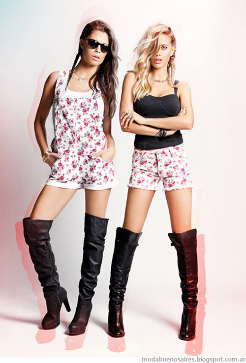 Enterito y shorts estampados floral moda verano 2015 Tabatha jeans ropa de mujer.