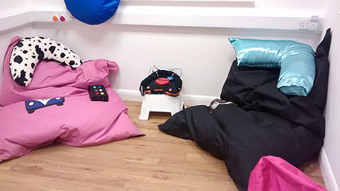 Comfortable bean bags (Big Boy Bean Bags) in Thurrock Lifestyle Solutions sensory room.