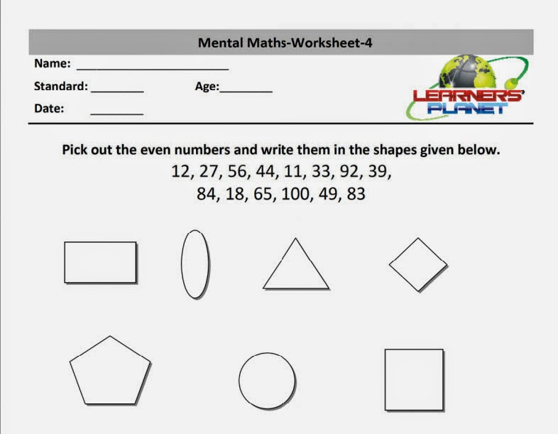 Mental math worksheets practice papers tutorials class 2 – Mental Math Worksheets