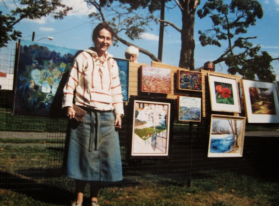 June Fine in the 1980s with some of her work: