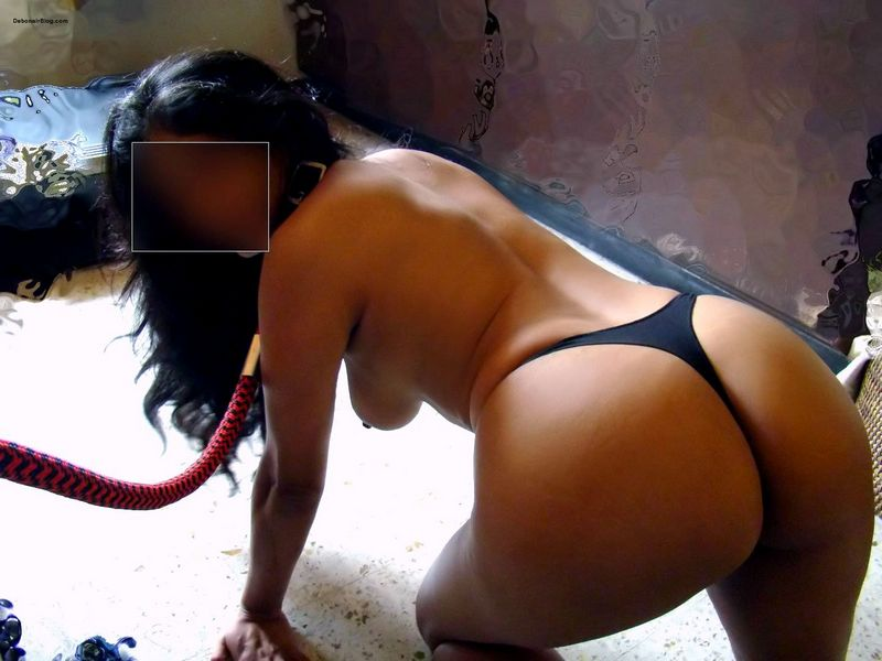 indian whore wife in thong panty showing ass and tits with leash